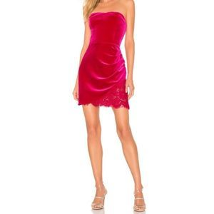 Amanda Uprichard Pink Strapless Lace Velour Dress